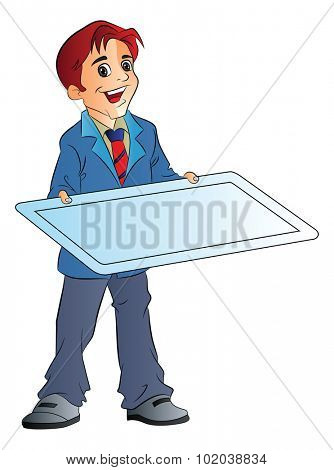 Young Man Holding an Illustration Board, vector illustration