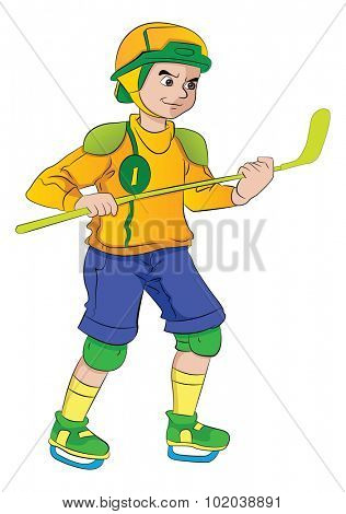 Young Man Playing Hockey, vector illustration