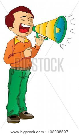 Man Using a Megaphone, vector illustration
