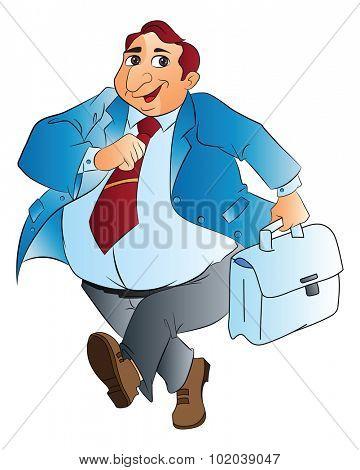 Fat Businessman with Bag, vector illustration