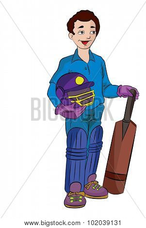 Young Cricket Player with Helmet and Paddle, vector illustration