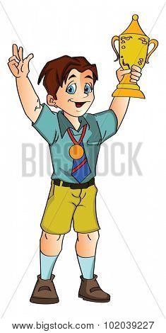 Boy Holding a Trophy, vector illustration