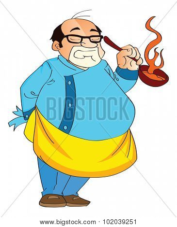 Male Cook Holding a Hot Pan, vector illustration