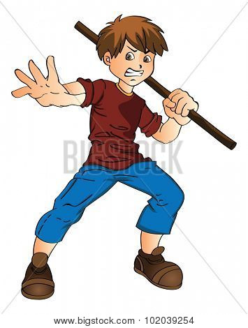 Young Man with a Stick, vector illustration