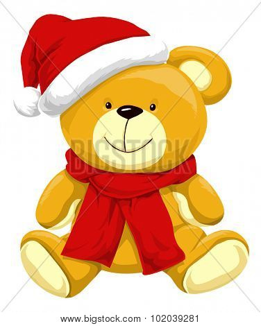 Christmas Teddy Bear with Santa Hat, vector illustration