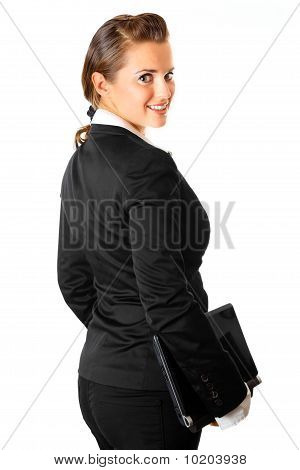 smiling modern business woman with laptop