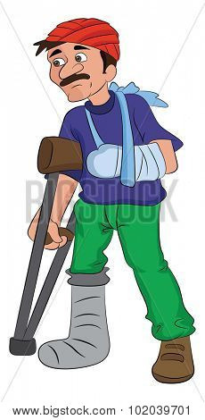 Man with an Injured Head Arm and Leg, vector illustration