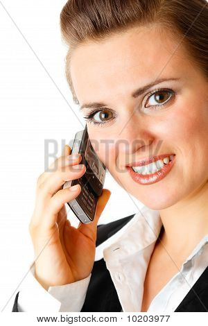 smiling modern business woman  with mobile phone