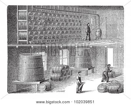 Orleans Method of Vinegar Manufacturing, vintage engraved illustration. Industrial Encyclopedia - E.O. Lami - 1875