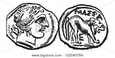 Ancient Celtic Drachma Coin, showing Head (front) and Lion (back), vintage engraved illustration. Dictionary of Words and Things - Larive and Fleury - 1895