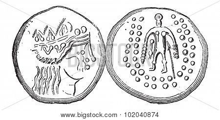 Ancient Celtic Tetradrachma Silver Coin, showing front and back, vintage engraved illustration. Dictionary of Words and Things - Larive and Fleury - 1895
