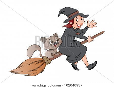 Vector illustration of a cheerful witch and cat riding on a broomstick.