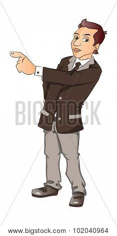 Vector illustration of a serious businessman pointing, isolated on white background.