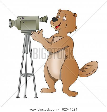 Beaver Using a Video Camera, vector illustration