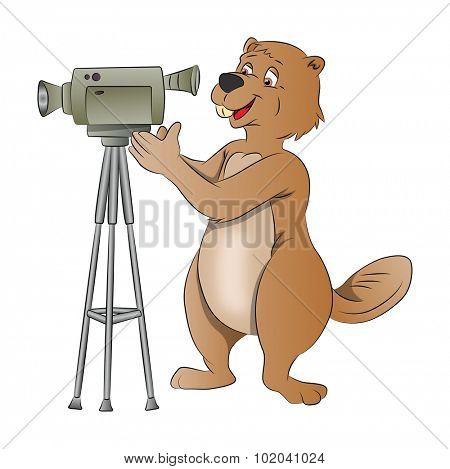 Beaver Using a Video Camera, vector illustration