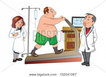 Physical Checkup at the doctor office, walking on a treadmill, illustration