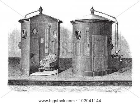 Pneumatic device for compressed air baths, vintage engraved illustration. Le Magasin Pittoresque - Larive and Fleury - 1874