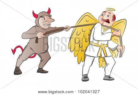 Tug-of-War Between a Devil and an Angel, vector illustration