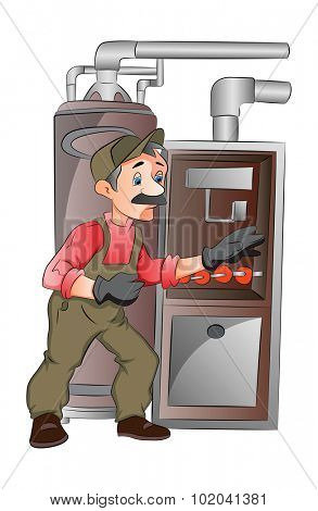 Maintenance Man working on a furnace, vector illustration