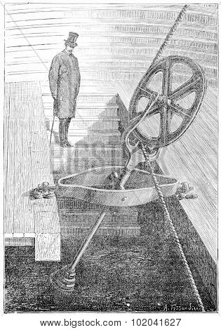 Pulley with Universal Movement, vintage engraved illustration. Industrial Encyclopedia - E.O. Lami - 1875