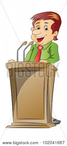 Vector illustration of a cheerful businessman giving presentation at a podium.
