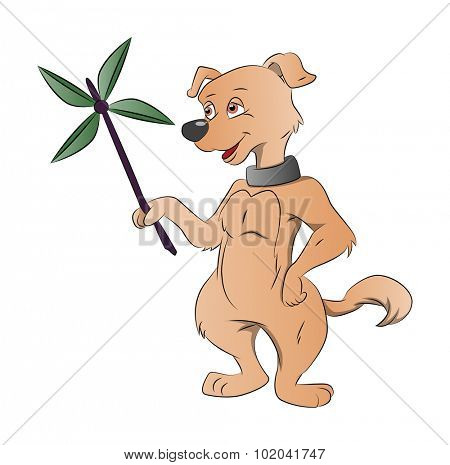 Dog Holding a Paper Windmill, vector illustration