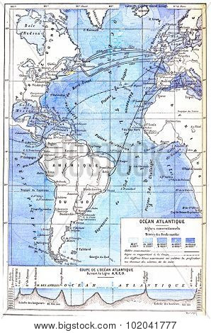 Map of the Atlantic Ocean, vintage engraved illustration. Dictionary of Words and Things - Larive and Fleury - 1895