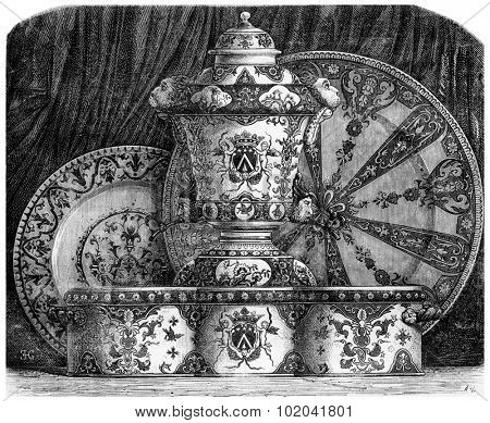 Various Earthenwares, with blue decoration and radiant design, found in Rouen, France, vintage engraved illustration. Le Magasin Pittoresque - 1874