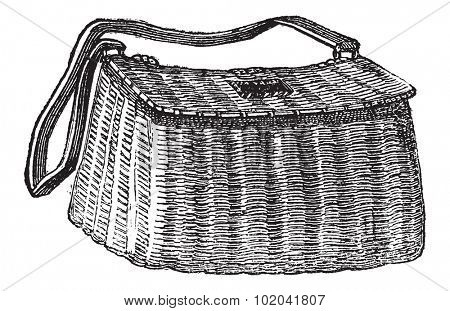 Fisherman's Basket, used in Fly Fishing, vintage engraved illustration. Le Magasin Pittoresque - 1874