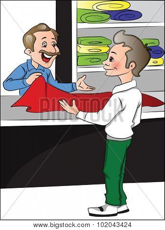 Vector illustration of clothes shopkeeper helping customer to choose clothes.