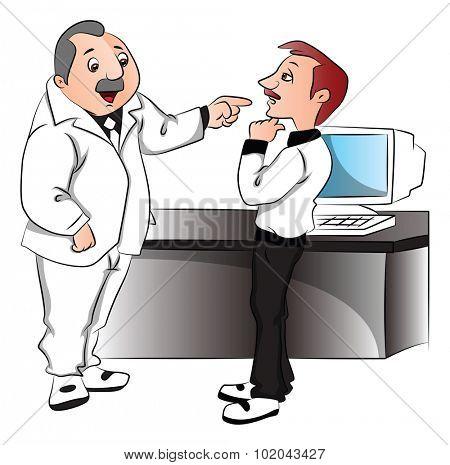Vector illustration of confident boss blaming his employee.
