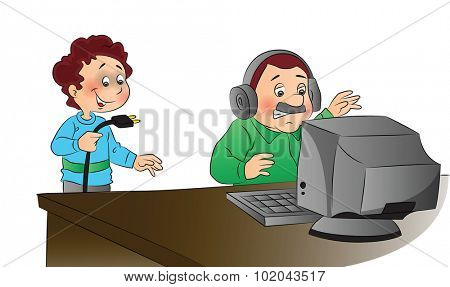 Vector illustration of man angrily looking at computer while naughty boy has unplugged the system.
