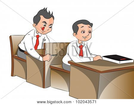 Vector illustration of schoolboys looking with curiosity.