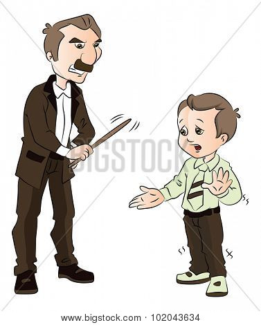 Vector illustration of a male teacher beating schoolkid with stick.