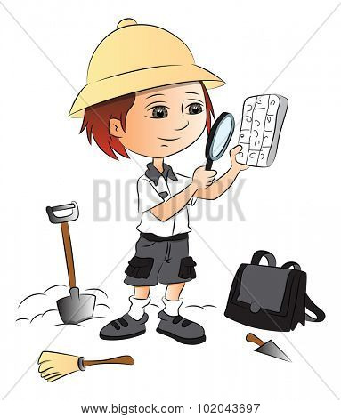 Vector illustration of boy using magnifying glass at construction site.