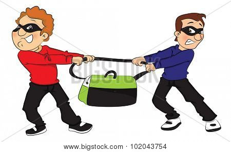 Vector illustration of two thieves pulling a stolen bag in opposite direction.