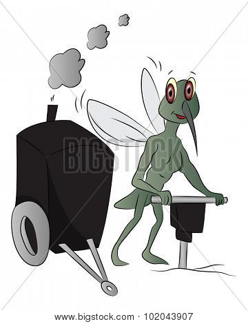 Vector of house-fly using power jackhammer to drill.