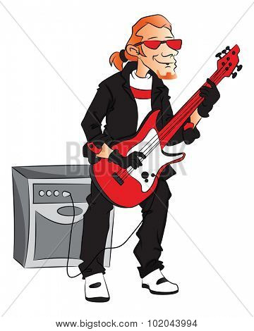 Vector illustration of male rockstar playing electric guitar.