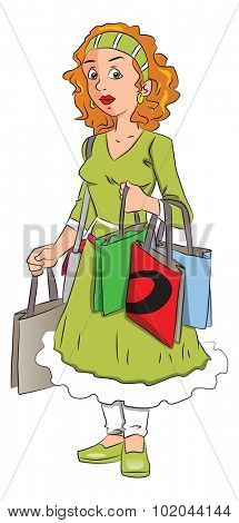 Vector illustration of unhappy woman over-burdened with shopping bags.
