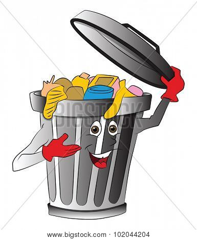 Vector illustration of overloaded dustbin holding lid.
