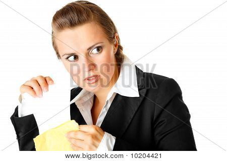 sly modern business woman  sending urgent letter