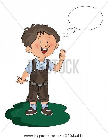 Vector illustration of happy boy with thought bubble.