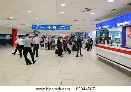 PRAGUE, CZECH REPUBLIC - AUGUST 04, 2015: airport of Prague interior. International airport of Prague is major airport of Czech Republic