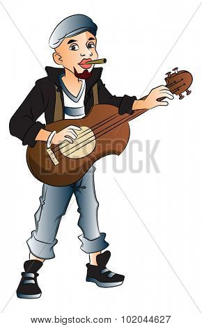 Vector illustration of young rockstar playing guitar and smoking cigarette.