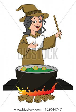 Vector illustration of a witch pronouncing a magic formula, cauldron in foreground.
