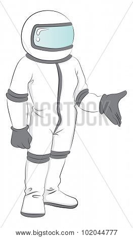Vector illustration of astronaut in spacesuit.