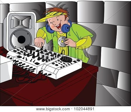 Vector illustration of happy dj wearing headphones and mixing music.