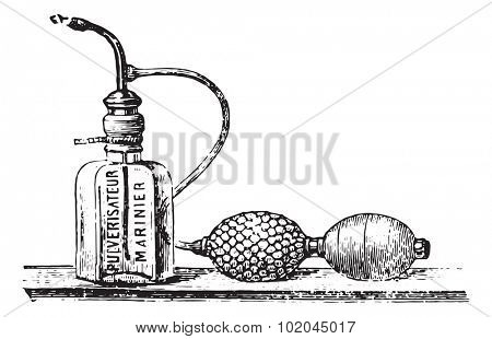 Mariner spray, vintage engraved illustration. Usual Medicine Dictionary by Dr Labarthe - 1885.