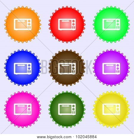 Microwave Oven Sign Icon. Kitchen Electric Stove Symbol. A Set Of Nine Different Colored Labels. Vec