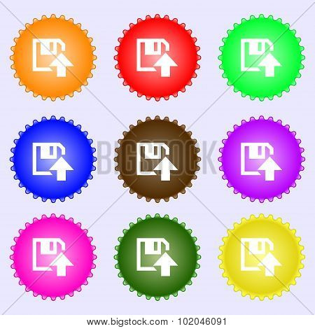 Floppy Icon. Flat Modern Design. A Set Of Nine Different Colored Labels. Vector